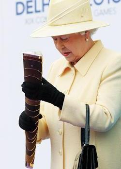 Queen Elizabeth 2 at the Launching of the Delhi 2010 Queen's Baton Relay (QBR)