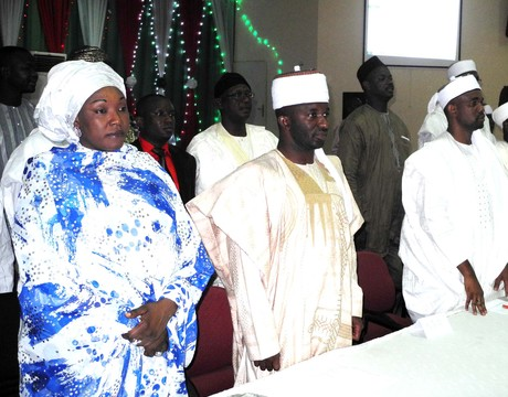 FROM LEFT: ADAMAWA STATE COMMISSIONER FOR WOMEN AFFAIRS AND INTEGRATION, HAJIYA HALIMA MOHAMMED, SARKIN MATASA OF ADAMAWA EMIRATE, ALHAJI ABDUL-AZIZ NYAKO, SARKIN MATASA OF MUBI EMIRATE, ALHAJI MOHAMMAD AHMAD, AT THE LAUNCHING OF SOCIAL RE-INTEGRATION GROUP AND INAUGURATION OF LOCAL GOVERNMENT CONFLICT RESOLUTION COMMITTEES IN YOLA ON SUNDAY