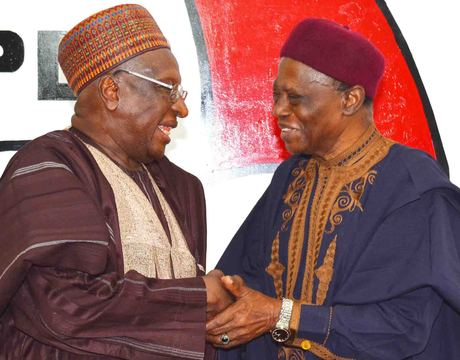 PDP NATIONAL CHAIRMAN,  ALHAJI BAMANGA TUKUR (L), WITH   CHAIRMAN, NATIONAL  DISCIPLINARY COMMITTEE, DR UMARU DIKKO,   DURING THE INAUGURATION OF THE COMMITTEE IN ABUJA ON THURSDAY (NAN)