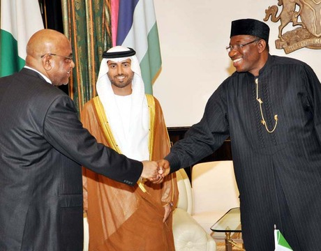 FROM LEFT: UNITED ARAB EMIRATES (UAE) AMBASSADOR TO NIGERIA, MR. SALIM AL-NAOBI; UAE MINISTER OF POWER, MR SUHAIL MAZROUEL AND PRESIDENT GOODLUCK JONATHAN DURING THE VISIT OF MR MAZROUEL TO THE PRESIDENT IN ABUJA ON FRIDAY