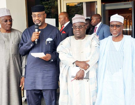 FROM LEFT: GOVS. ABDULFATAH AHMED OF KWARA; LIYEL IMOKE OF CROSS RIVER; BABANGIDA ALIYU OF NIGER AND IDRIS WADA OF KOGI, AFTER THEIR MEETING WITH PRESIDENT GOODLUCK JONATHAN IN ABUJA ON MONDAY (7/10/13)