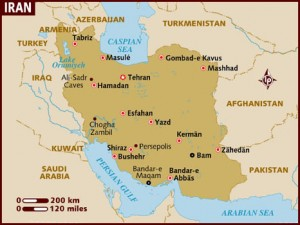 iran on map