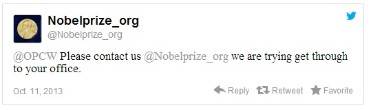 Nobel Prize 2013 Tweet Becomes History