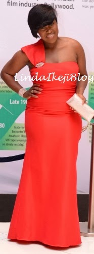 Uche Jombo Stunning In Red At Nollywood Movies Awards
