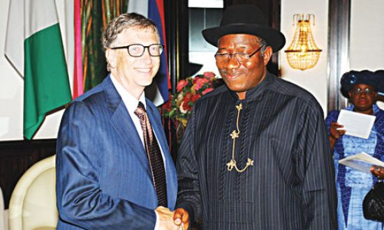 PRESIDENT GOODLUCK JONATHAN WITH BILL GATES YESTERDAY AT THE STATE HOUSE, ABUJA.