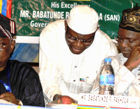 ACTING CHAIRMAN, ALL PROGRESSIVES CONGRESS (APC), LAGOS STATE, CHIEF HENRY AJOMALE; SPECIAL ADVISER TO LAGOS STATE GOVERNOR ON POLITICAL AND LEGISLATIVE POWERS, MR MUSLIM OLOHUNTELE AND GOV. BABATUNDE FASHOLA, AT THE 10TH LAGOS EXECUTIVE LEGISLATIVE MEETING IN LAGOS ON FRIDAY (NAN)