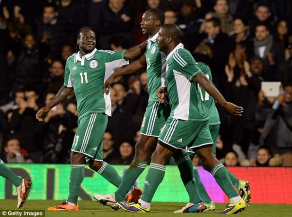 Getty Image via Dailymail: Ameobi Celebrates With Moses, Dike and Co after Scoring Nigeria's Second Goal.