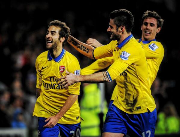 Flamini Celebrates Arsenal's Second Goal Against Cardiff.