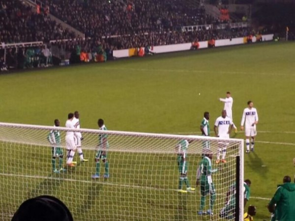 Nigeria's Mostly Home-Based Defence (Except for Obaobona) Gets Set for an Andre Pirlo Delivery at Craven Cottage.