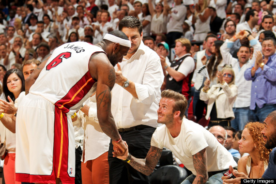 LeBron James Shakes Hands With David Beckham Before the Jump-Off  of An Eastern Conference Match Last Season.