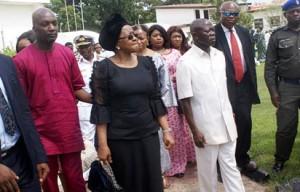 Gov Oshiomole with Late Akhigbe's widow