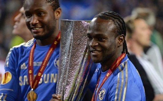 John Obi Mikel and Victor Moses Pose for a Snap Shot After Clinching the Europa League Trophy Last Season.