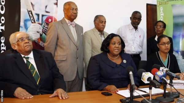 © Reuters. Jamaica's Sports Minister and WADA Team During a Two-Day Meeting.