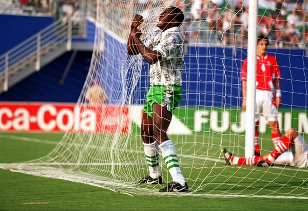 Rashidi Yekini Celebrates Scoring Nigeria's First Goal in the Fifa World Cup.