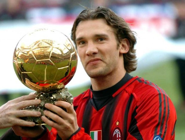 Andriy Schevchenko Displays the Fifa Ballon d'Or He Won While Playing for the San Siro Outfit.