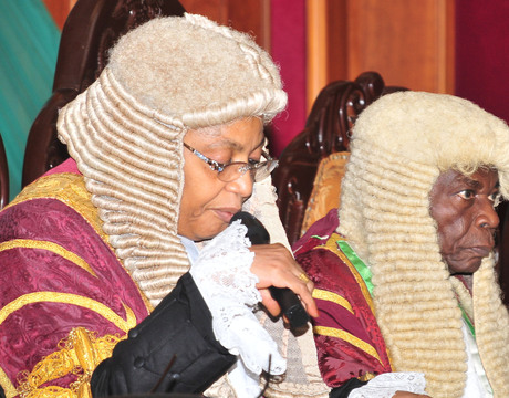 ACTING PRESIDENT,  COURT OF APPEAL, JUSTICE ZAINAB BULKACHUWA (L),  WITH THE FORMER PRESIDENT, JUSTICE AYO SALAMI,  AT THE VALEDICTORY COURT SESSION OF THE COURT IN HONOUR OF JUSTICE SALAMI IN ABUJA ON THURSDAY