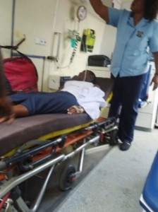 one of the victims in an ambulance
