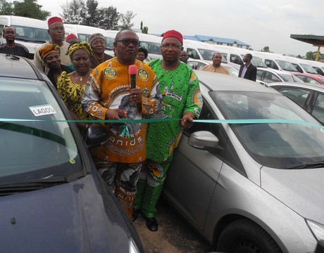 GOV. PETER OBI OF ANAMBRA AND DEPUTY GOVERNOR, MR EMEKA SIBEUDU, INAUGURATING VEHICLES DONATED TO HEADS OF ADMINISTRATION AND DIRECTORS IN THE STATE'S LOCAL GOVERNMENT COUNCILS IN AWKA ON WEDNESDAY