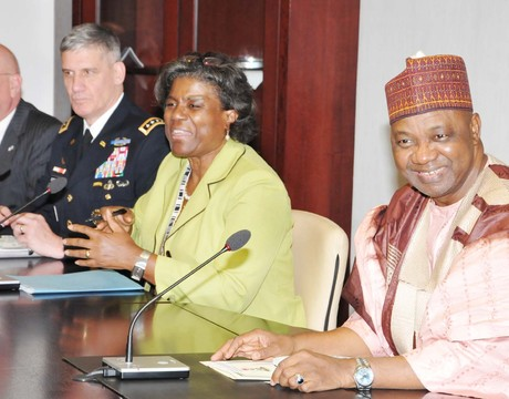 FROM LEFT: US AMBASSADOR TO NIGERIA, MR JAMES ENTWISTLE; COMMANDER, US AFRICA COMMAND (USAFRICOM), GEN. DAVID RODRIGUEZ; US SECRETARY FOR THE BUREAU OF AFRICAN AFFAIRS, LINDA THOMAS-GREENFIELD AND VICE PRESIDENT NAMADI SAMBO, DURING A MEETING AT THE PRESIDENTIAL VILLA IN ABUJA ON WEDNESDAY