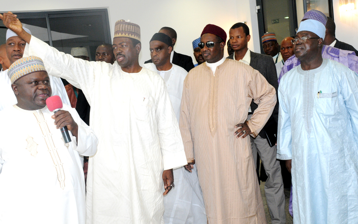MINISTER OF INFORMATION, MR LABARAN MAKU (2ND-L); GOV. MUKHTAR YERO OF KADUNA STATE AND DEPUTY GOVERNOR, AMB. NUHU BAJOGA, AT THE INSPECTION OF THE NEW GOVERNMENT HOUSE COMPLEX BUILDING PROJECT BY THE GOOD GOVERNANCE MEDIA TEAM IN KADUNA ON MODAY (9/12/13)
