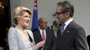 Australian Foreign Minister Julie Bishop, left, talks with her Indonesian counterpart Marty Natalegawa after their meeting in Jakarta, Indonesia.