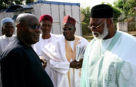 THE FORMER VICE PRESIDENT WITH FORMER HEAD OF STATE, GENERAL ABDULSALAMI ABUBAKAR AS THEY PREPARE TO BOARD A FLIGHT TO SOUTH AFRICA LAST FRIDAY