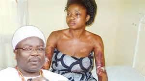 Deposed Deji of Akure, Oluwadare Adesina inset:battered wife