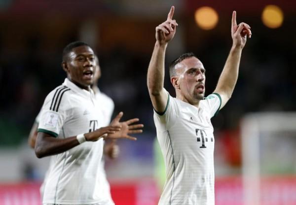 Ribery Celebrates Opening Scores for Bayern Against Evergrande.