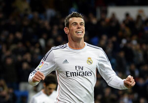 Gareth Bale Celebrates After Scoring Hat-Trick Against Valladolid.