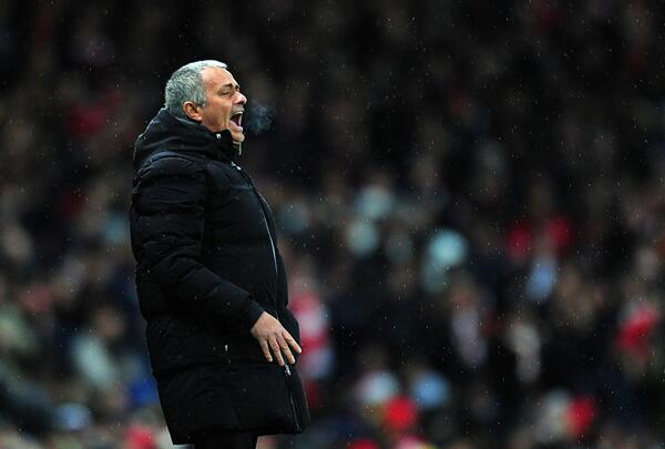 Mourinho Barks Out Instructions to His Players in the Rainy and Windy Condition at the Emirate.