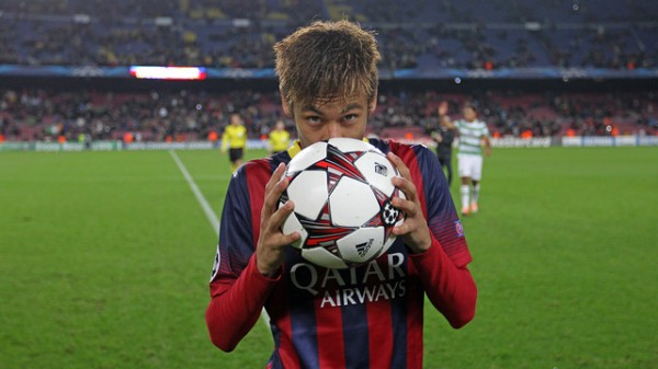 And He Responded! Neymar Kisses His Ball After Scoring Hat-Trick in Barcelona's 6-1 Routing of Celtic.