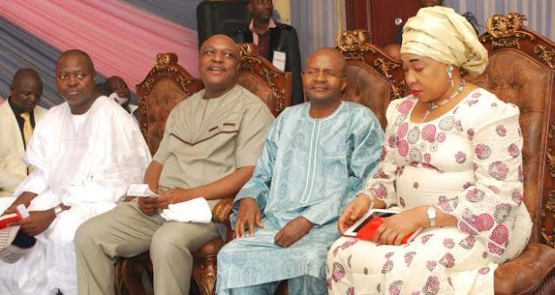 TARABA STATE GOVERNOR, DANBABA SUNTAI (SECOND RIGHT) WITH HIS WIFE HAUWA, HIS PREDECESSOR, REV. JOLLY NYAME AND STATE PDP CHAIRMAN MR. VICTOR BALA AT THE CHRISTMAS SERVICE, UNITY CHAPEL, GOVERNMENT HOUSE, JALINGO