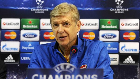 Arsene Wenger Speaks at His Post Match Conference After the Napoli Game.