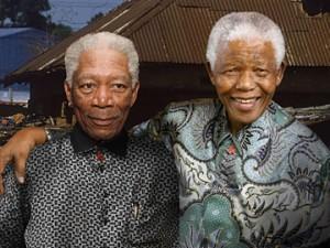 Morgan Freeman with Nelson Mandela