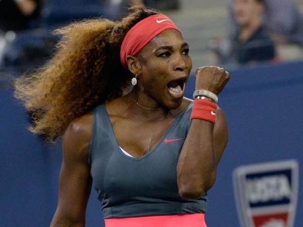 Serena Williams Celebrates Winning Her 17th Grand Slam Title in New York.