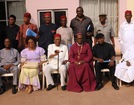 NATIONAL PRESIDENT, IGBO LEADERS OF THOUGHT, PROF. BEN NWABUEZE (4TH L), WITH MEMBERS AFTER A MEETING IN ENUGU ON MONDAY(credit: NAN).