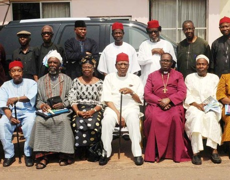 NATIONAL LEADER, IGBO LEADERS OF THOUGHT, PROF. BEN NWABUEZE (6TH-L SITTING) WITH MEMBERS AT THE 4TH ASSEMBLY OF IGBO LEADERS OF THOUGHT IN ENUGU ON FRIDAY