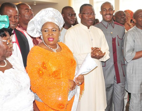 FROM LEFT: MOTHER OF THE PRESIDENT, MRS EUNICE JONATHAN; CHAIRMAN, BOARD OF NIGERIAN CHRISTIAN PILGRIM COMMISSION (NCPC), THE MOST REV NOCHOLAS OKOH;  FIRST LADY DAME PATIENCEJONATHAN; PRESIDENT GOODLUCK JONATHAN; NCPC EXECUTIVE SECRETARY, MR JOHN-KENNEDY OPARA, MEMBER, HOUSE OF REPRESENTATIVES, REP. NDIDI ELUMELU, AT THE  NCPC THANKSGIVING SERVICE IN ABUJA ON SUNDAY