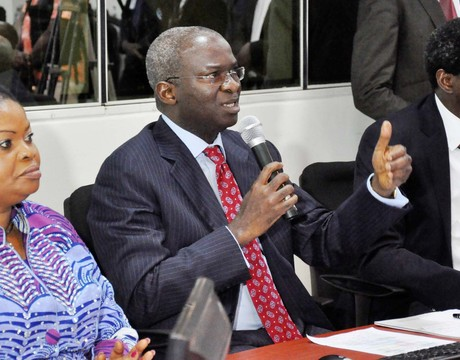 FROM LEFT: DEPUTY GOVERNOR OF LAGOS STATE, MRS ADEJOKE ORELOPE-ADEFULIRE; GOV. BABATUNDE FASHOLA AND COMMISSIONER FOR SCIENCE AND TECHNOLOGY, MR AYO MABADEJE, AT A BRIEFING ON PUBLIC SECURITY SYSTEM DEMONSTRATION IN LAGOS