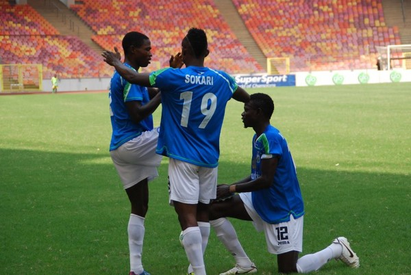 Enyimba's New Hitman, Abdurahman Bashar Celebrates his 4th Goal of the Glo Premier League Pre-season Tournament. Image: FaceBook By LMC.