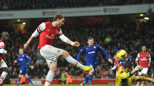 Hard Work: Nicklas Bendtner Sprained His Ankle While Scoring This Goal.