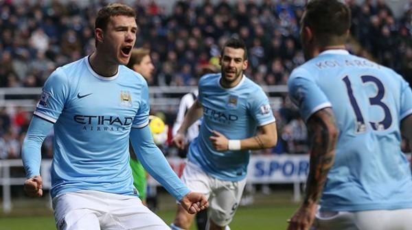 Eden Dzeko Celebrates Opening Goal Against Newcastle. Image: AFP.
