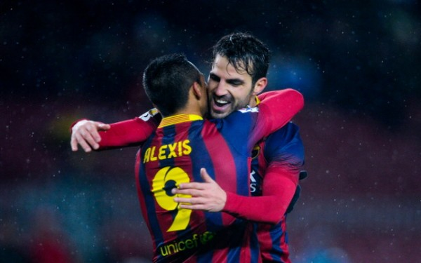 Alexis Sanchez Celebrates With Cesc Fabregas.
