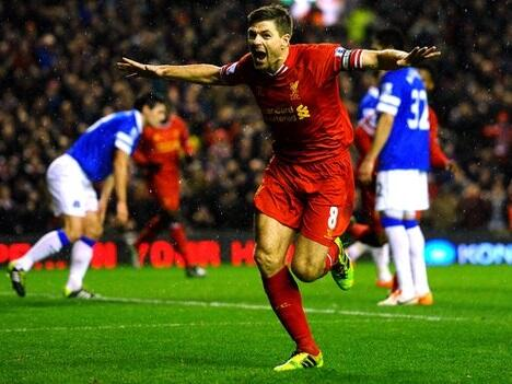 Gerrard Celebrates Liverpool's Opener in Tuesday's Merseyside Derby.
