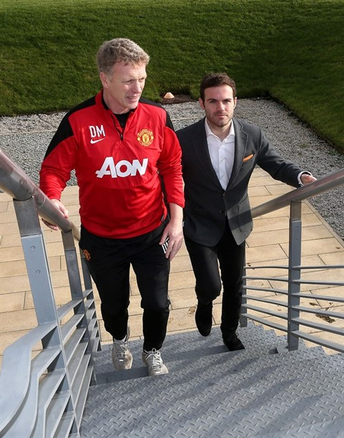 Follow My Lead: David Moyes and Juan Mata Arrives at United's AON Training Facility.Image By John Peters for MUTD.