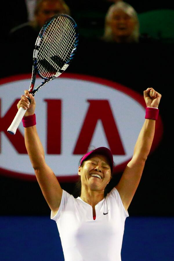 Third Time Lucky Li Celebrates After Dousing Cibulkova's Hopes in the 2014 Australian Open Final.