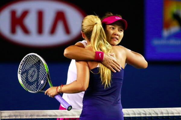 Li Na and Dominika Cibulkova Hugs After a 7-6 (7-3), 6-0 WIn for the Chinese in Australian Open Women's Singles Final.