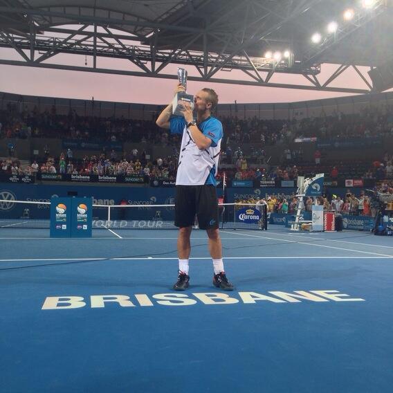 Lleyton Hewitt Kisses the Brisbane International Trophy.