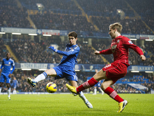 English Wonderkid Luke Shaw Tries his Luck From the Left Against Chelsea.