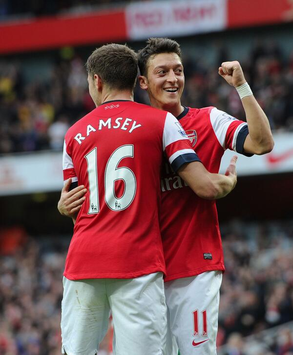 Mesut Ozil and Aaron Ramsey Out for the Gunners. Picture: Getty Image.